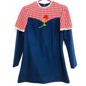 NWT 70s Vintage Mini Dress Strawberry Detail Sz S